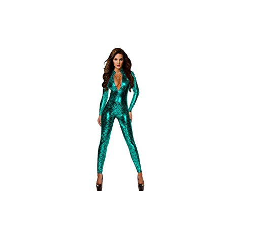 Fancy Dress Catsuit (Damen Metallic Fisch Skalen Muster Jumpsuit Catsuit Playsuit Bodysuit Club Wear Fancy Dress Kostüm (X-Large,)