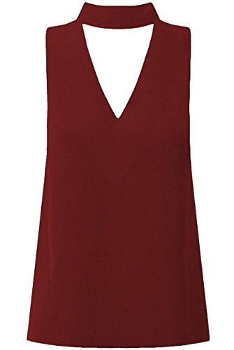 Janisramone - Débardeur - Uni - Sans Manche - Femme * taille unique Bordeaux