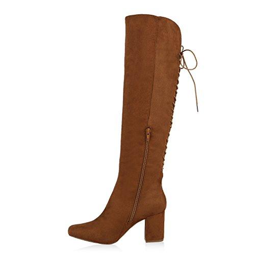 Klassische Damen Stiefel Schleifen Absatz Velours Gefüttert Braun