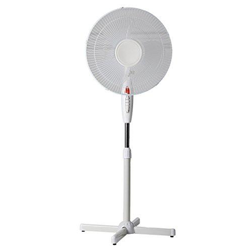 Ventilateur sur pied avec fonction oscillation 3vitesses et veilleuse Le ventilateur a un diamètre de 40cm Réglable en hauteur jusqu'à 130cm Blanc