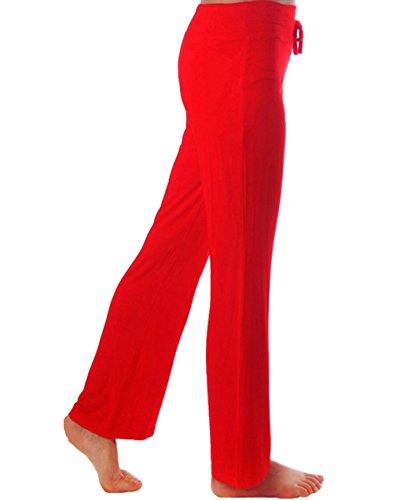 HOEREV Frauen Soft Modal Slimming Hose Yoga Hosen Pyjama-Hose Rote