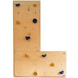 Mur d'escalade intérieur IW2 2 panneaux muraux 120 x 60 cm avec 10 prises d'escalade de Gartenpirat®