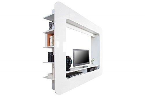 DuNord Design Wohnwand TV-Wand Schrankwand RETROCUBE weiss 185cm Hochglanz Mediawand Anbauwand