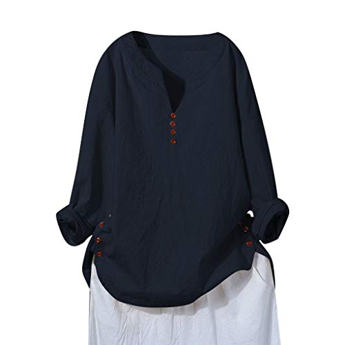 MOTOCO Damen V-Neck Button Langarm Top Lässig Solid Übergröße Hemd(XL,Marine) -