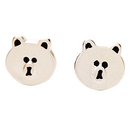 CAOLATOR Pendientes Plata en Forma de Linda Oso Pendientes Mujer de Animal Decoración del Partido Aretes Para el Accesorios de Joyería(Oso)