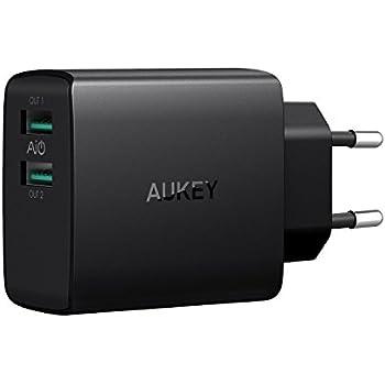 AUKEY USB Ladegerät 24W 2 USB Port mit AiPower Technologie Wandladegerät für iPhone X / 8 / 8 Plus, iPad Air / Pro, Samsung, Nexus, HTC, Motorola, LG und weitere (Schwarz)
