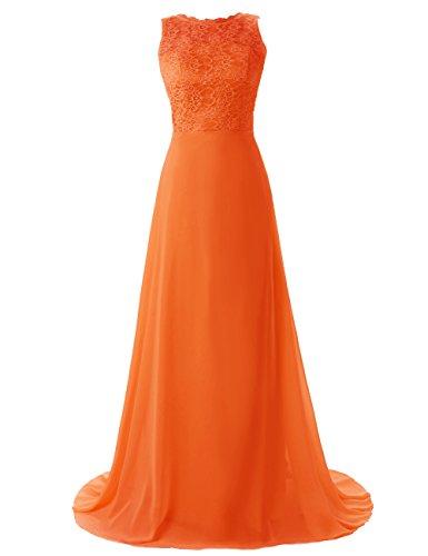 Dressystar Robe de demoiselle d'honneur/de bal longue sans manches en Mousseline,Dentelle Orange