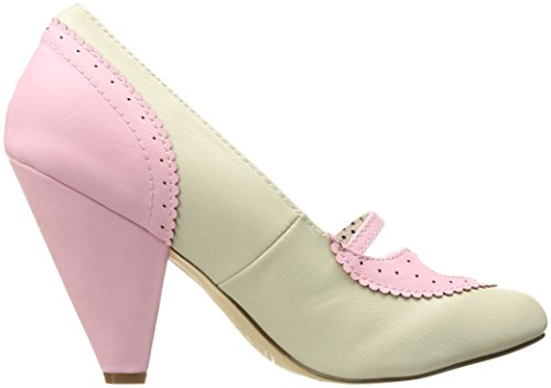 Pin Up Couture Poppy-18, Scarpe Col Tacco Punta Chiusa Donna B. Pink-Cream Faux Leather