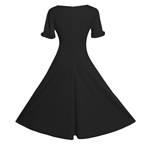 Femmes Rétro Années 50's Elégantes Rockabilly Swing Robe de Cocktail Noir