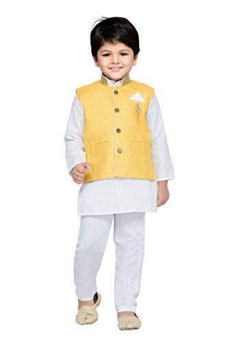 AJ Dezines Kids Kurta Pyjama Waistcoat Set for Boys (662_GOLD_12)