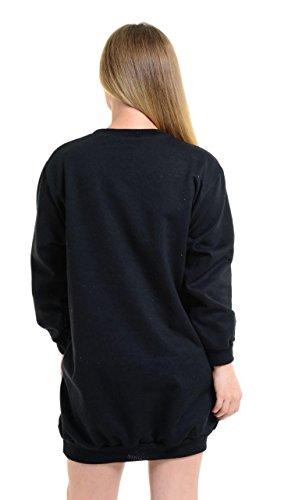 Mymixtrendz® Womens Guilty et Liberte Imprimer Oversize Pocket manches longues robe tunique Sweatshirt Black Guilty