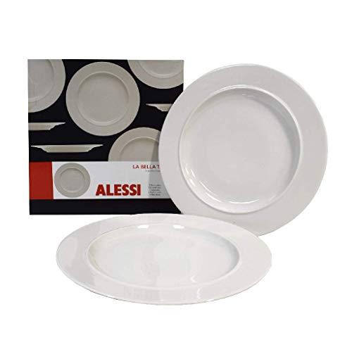 Alessi Assiettes plates en porcelaine La Bella Tavola 1110301, 27 cm, lot de 2, Porcelaine, Ensemble de 2