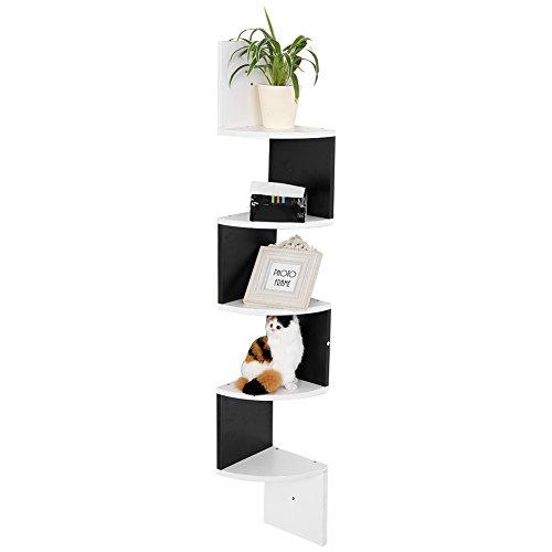 Cocoarm mensola da muro angolare in legno 5 ripiani, libreria moderna angolare per soggiorno, camera da letto, studio, cucina, 127×20×20 cm, bianca & nera