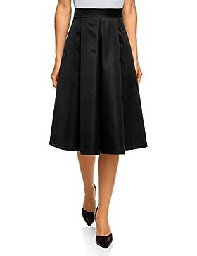 oodji Collection Mujer Falda Midi con Pliegues Suaves