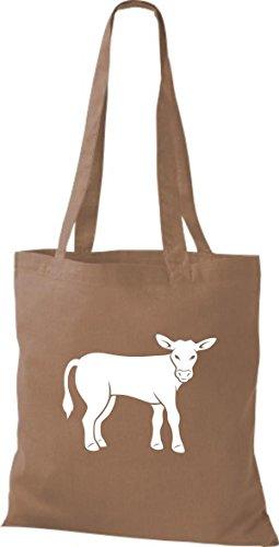 Shirtstown Stoffbeutel Tiere Kuh, Bulle Hellbraun