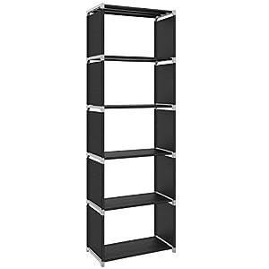 SONGMICS Standregal Bücherregal Lagerregal Regale, Belastbarkeit jedes Bodens 10 kg, für Küche, Flur, Keller Oder Arbeitszimmer 5 Fächer Schwarz 50 x 30 x 180 cm LSN15H, Metall,