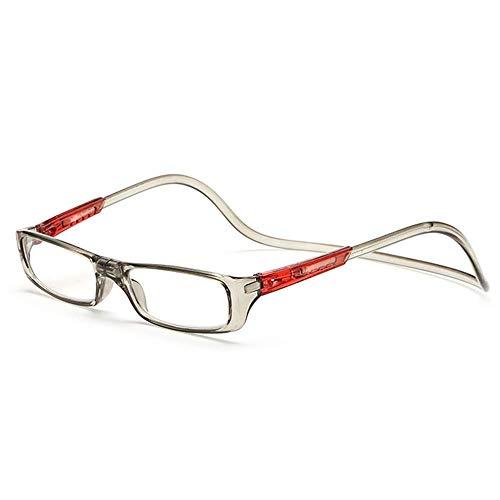 Keepmoving Herren Damen Designer Lesebrillen Lesehilfe Brillen Augen mit Magnet +1,0 bis +4,0(2 Kaufen, 3 Bekommen! 3 Kaufen, 5 Bekommen!Super Geschenk!!!) (Grau+Rot, 2,5)