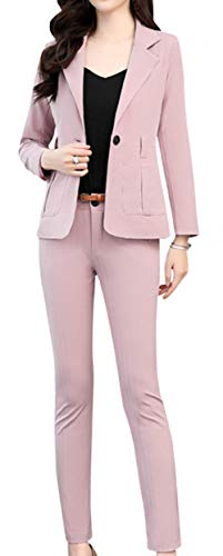 Scothen Damen Business Hosenanzuge Slim Fit Blazer Reverskragen Karriere Hosen Anzug Set Sakko Kurzjacke Eleganter Karriere Kurzer Taillierter Anzugjacke Colourful Blazer Business