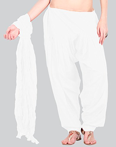 White Semi Patiala Bottom & Trendy Sleek Cotton Dupatta With Side Pockets From eSTYLe(Free Size)