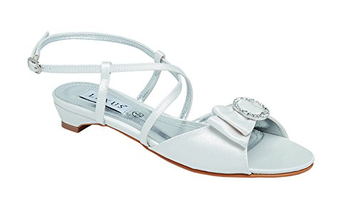 Ladies Lexus Bridal Low Heel Sandal with Textile Bow, Diamante Trim and Cross-Over Straps in Ivory. (Trim Crossover)