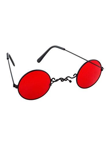 üm Accessoires Zubehör GRAF Dracula Vampir Sonnenbrille Brille, Lord Vampire Glasses, perfekt für Halloween Karneval und Fasching, Rot ()