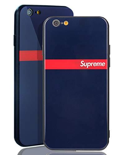 SUP [ Passend für Apple iPhone 6, in Navy Blau Supreme Stripe Glas Hülle - Rückseite aus 9h Panzerglas - Schlichtes Logo Design