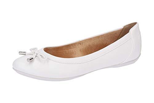 Geox Charlene D84Y7A Damen Ballerinas,Frauen Flats,Sommerschuh,Elegant,Schleife,Freizeit,Optic White,39