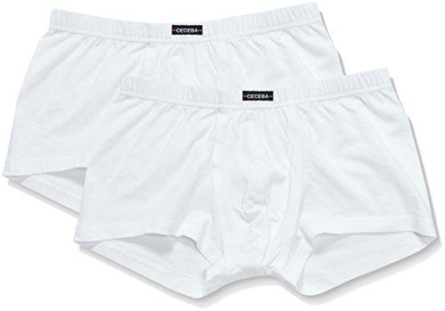 Ceceba Herren Retroshorts Short Pants, 2er Pack, Einfarbig, Gr. XXXXX-Large (Herstellergröße: 12), Weiß (weiss 1000) Po Slip Plus-größe