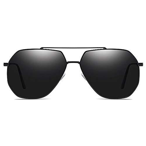 WULE-Sunglasses Unisex Schwarz/grau Rahmen grau Linse Herren polarisierte Sonnenbrille Fahren Klassische Mode Metall Material UV400 Sonnenbrille (Farbe : Black)