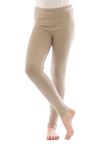 Thermo Leggings leggins Hose lang aus Baumwolle Fleece warm dick weich beige XXL