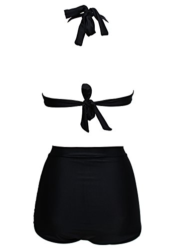 Damen Retro Badeanzug Bademode Bikini Set, schwarz,3XL - 4