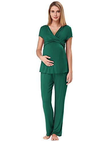 Pyjama für Schwangere Frauen Schlafanzug Kurz Arm Viskose Pyjama Set Loungewear Grün L - Kurze Pyjamas Pjs
