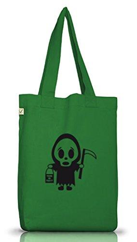 Shirtstreet24, Halloween - Sensenmännchen, Grusel Kostüm Jutebeutel Stoff Tasche Earth Positive Moss Green