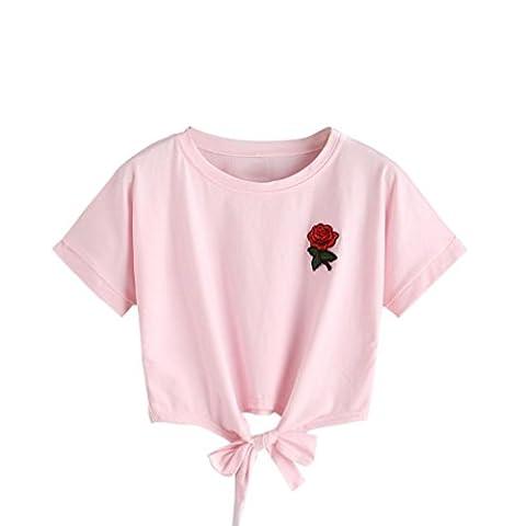 Bluestercool Femmes Gilet Brodé Roses Décontractée Manche courte T-Shirt (L, Rose)