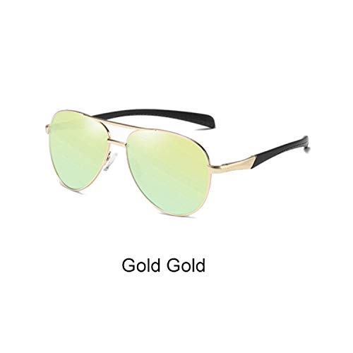FGRYGF-eyewear2 Sport-Sonnenbrillen, Vintage Sonnenbrillen, Sunglasses Männer Polarized UV400 High Quality Driving Fishing Goggles Retro Designer Sunglases Pilot Shades Männer D8075 Gold Gold