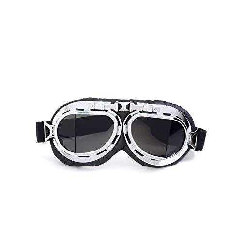 Lafeil Sportbrille Fahrrad Damen Herren Lokomotivenbrillen Retro Weltkrieg Schutzbrillen Motorrad Motorradbrillen Sandproof Schutzbrillen Off Road Helmbrillen Silber Brown