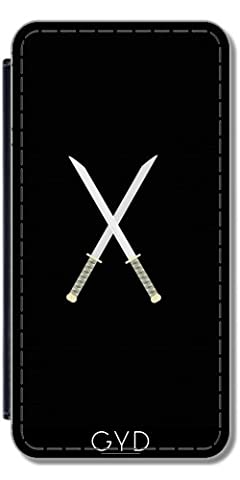 Leder Flip Case Tasche Hülle für Samsung Galaxy Ace 3 (S7272/A7275) - Samurai-Schwerter by ilovecotton