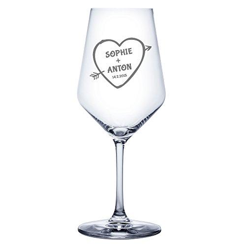 AMAVEL - Verre à vin blanc avec gravure - Personnalisé avec [NOMS] et [DATE] - Motif Cœur et Flèche [Flèche de Cupidon] - Cadeau romantique - Cadeau Saint Valentin - Cadeau de mariage - Volume : env. 490 ml