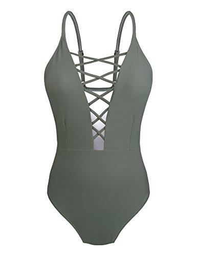 Yolev Badeanzug Monokini Bandage rükenfrei Badebekleidung für Damen (XXL, Grau)
