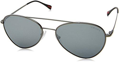 Prada Sport Herren 0PS50SS 7CQ5L0 57 Sonnenbrille, Grau (Matte Gunmetal/Light Grey Black),