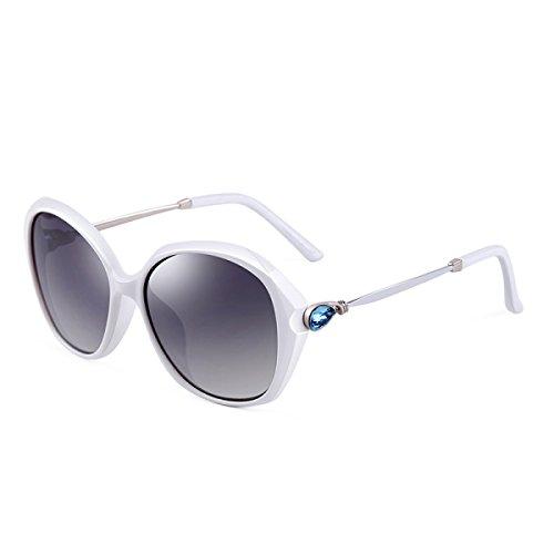 LQQAZY Glänzende Strass-Modelle Polarisierte Sonnenbrille Damenflut Große Kisten Fahrer Fahrbrille Sonnenbrille,White