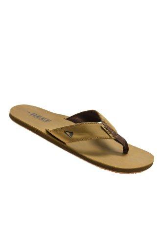 Reef Glattleder Schwarz Flip-Flops für Herren, Braun - Marrone (Bronze Brown) - Größe: 44 EU
