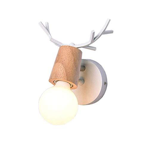 Vintage Design Kreativ Geweih Wandlampe Landschaft Geweih Innen Deko Edison Nachttisch-Leuchte Schlafzimmer Wandleuchte Bett Wand Jugendstil Wand Anhänger Wandstrahler Flur Bad Wandlampe E27 (Weiß)