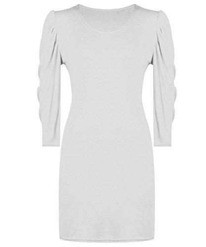 Fashion 4moins Nouvelles Femmes durgence robe Bodycon à manches 3/4. UK 8–14 Blanc