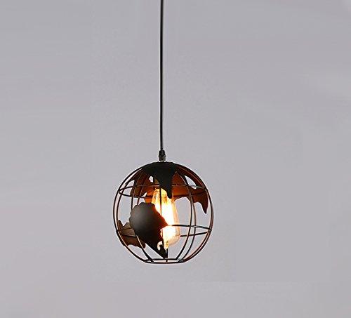 Kreative Eisen Kunst Globus Hängeleuchten Mode Schmiede E27 Hohle Globale Pendelleuchten Restaurant / Schlafzimmer / Showroom / Kaffee / Bar Single Head Kronleuchter (ohne Birne) ( Color : Black , Größe : Big ) -