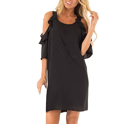 Saihui_Women Dress Damen Kleid Sexy Rüschen Kurzarm A-Linie Casual Chiffon T-Shirt Swing Mini Kleider Sommer Top Tunika -
