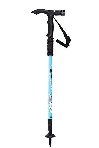 Wandern Gehstock T Aluminiumlegierung Außenkletter Stick 3 Abschnitt Verstellbare Trekkingstöcke Ski Alpen Krücken mit Lichtern Griff , blue , 1PC