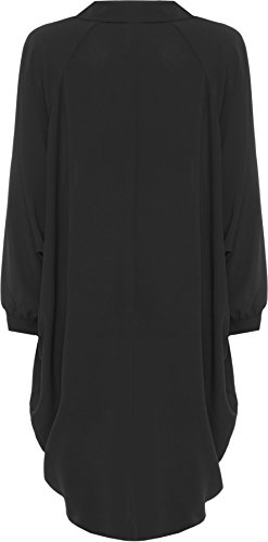 WEARALL Femmes Grande Taille Batwing Chemise Robe Longue Manche Trempette Ourlet Salut Il Bouton Collier Dames - Robes - Femmes - Tailles 44-54 Noir