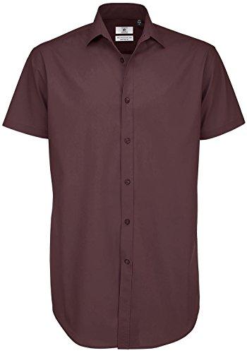 B & C Collection Erwachsene Short Sleeve Schwarz Tie Business Top Erwachsene Formale T-Shirt - Luxurious Red