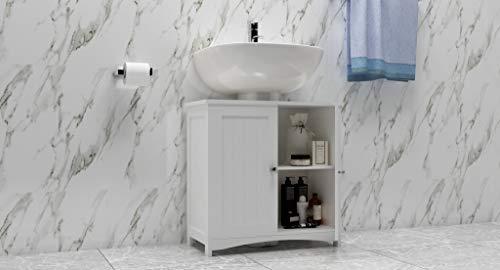 woodluv Meuble sous lavabo pour Salle de Bain, Blanc